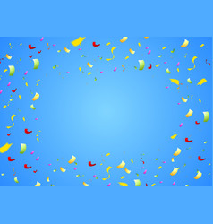 Colorful shiny confetti on bright blue background vector