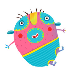 Funny kids monster jumping creature vector