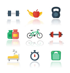 Fitness gym flat icons over white vector