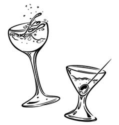 Cocktails glasses vector