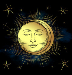 Antique style hand drawn art golden sun and moon vector