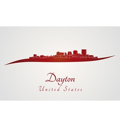 Dayton skyline in red vector