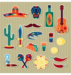Collection of mexican stickers in native style vector