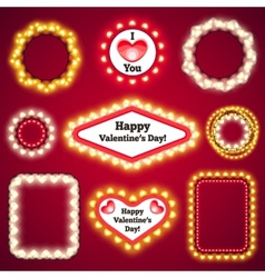 Valentines lights decorations set3 vector