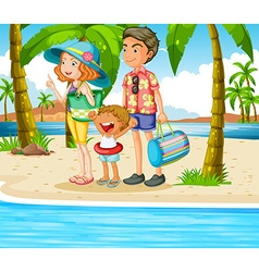 Family trip to the beach vector image