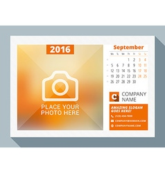 September 2016 desk calendar for 2016 year design vector