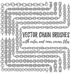 Set of 6 hand drawn silver chain brushes vector