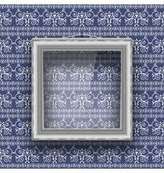 Empty square frame with glass on the wall with vector