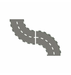 Curved road icon in cartoon style vector