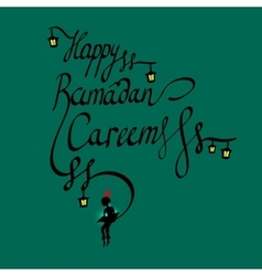 Doodle calligraphy text happy ramadan kareem and a vector