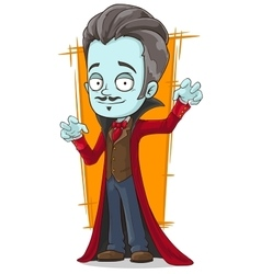 Cartoon funny pale vampire in red cloak vector