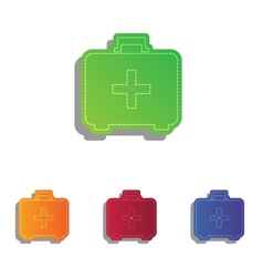 Medical first aid box sign colorfull applique vector