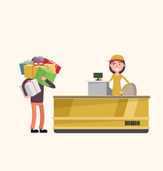 a man buys a lot of gifts in a store discount vector image vector image