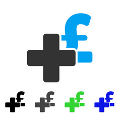 Add pound flat icon vector