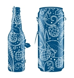 Beer can and bottle abstract ornament vector