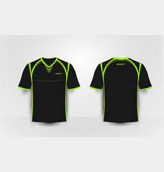Black and green sport football kits t-shirt vector