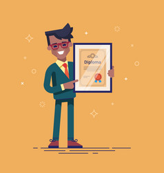 Black man holding diploma in his hands vector