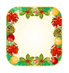 Button square christmas spruce with red ribbons an vector