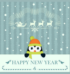 christmas card with little penguin vector image vector image