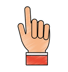 Color pencil hand with two fingers up vector