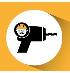 Construction man and drill graphic vector