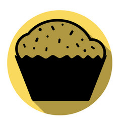 Cupcake sign flat black icon with flat vector