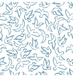 Flying birds seamless pattern with blue doves vector image vector image