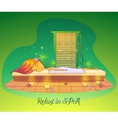 Girl or woman relaxing lying at spa salon vector