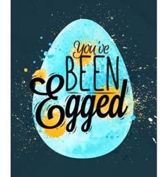 Happy easter egg poster blue vector image