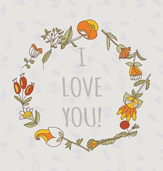 I love you postcard cute retro card with flowers vector