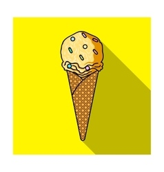 Ice cream in waffle cone icon in flat style vector