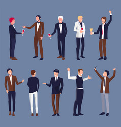 icons of men in suit at party vector image vector image