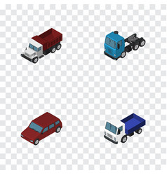 Isometric transport set of freight car truck and vector