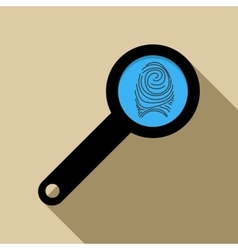 Magnifying glass with fingerprint icon flat style vector image