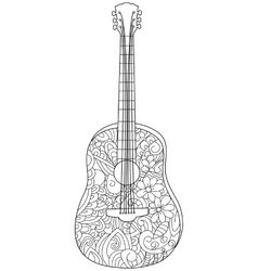 Musical instrument guitar Coloring book for vector image vector image
