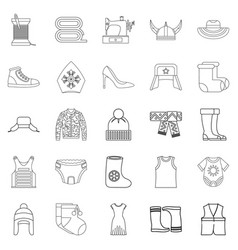 Needlework icons set outline style vector