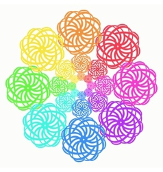 Rainbow line flower circular pattern on white vector