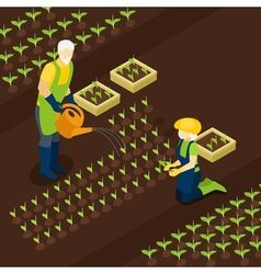 Retired farmers life isometric banner isomentric vector