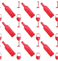 Seamless watercolor pattern with wine bottle and vector