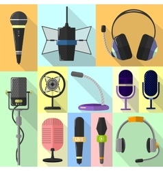 Set of different icons with microphones vector image vector image