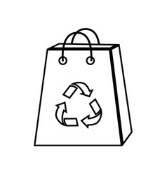 Silhouette bag with reduce reuse and recycle vector