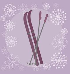 skis flat vector image