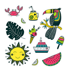 Summer time set in ethnic tropical style colorful vector