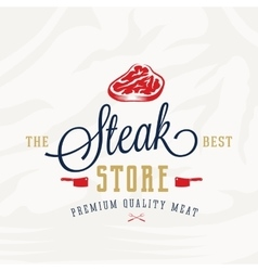 The best steak store vintage typography label vector