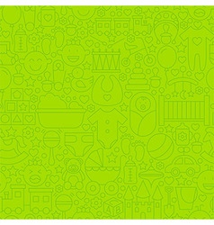 Thin line green baby toys seamless pattern vector