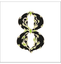 Fiery font black and green number 8 on white vector