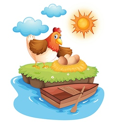 A hen with eggs in an island vector image