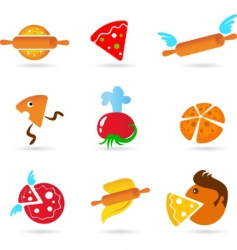 Food and kitchen icons pizza set vector