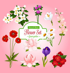 Poster of spring garden flowers set vector