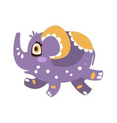 Cute cartoon baby elephant character running vector
